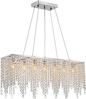 7PM Modern Linear Rectangular Island Dining Room Crystal Chandelier Lighting Fixture (Medium L32