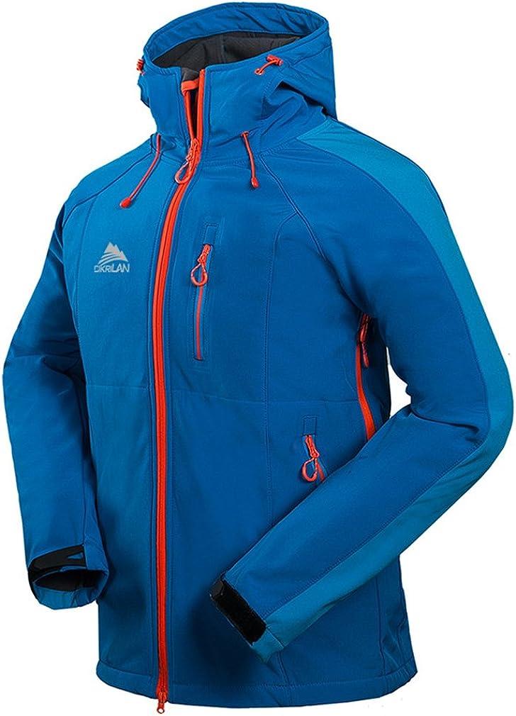 CIKRILAN Mens Hooded Soft Shell Fleece Lined Jacket Hiking Camping Trekking Coat