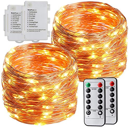 esLife Fairy Lights Battery Powered with Remote, 2 Pack 100 Led Copper Wire String Light Dimmable IP65 Waterproof Twinkle Light for Christmas Decoration, Wedding, Home, Party, Bedroom (Warm White)