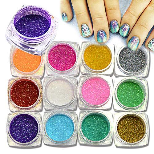 Poudre à ongles,Nail Glitter Glimmer Poudre Poussière Conseils Pour Nail Art Décoration DIY Outils De Manucure 12 Bouteille