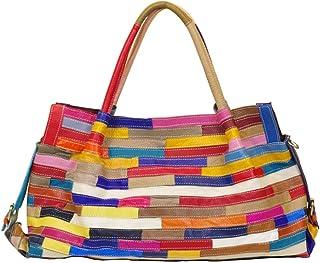 Segater Damen Multicolor Einkaufstasche Echtes Leder Handtasche Bunte Patchwork Große Umhängetasche Shopper Taschen Großer Crossbody Hobo Handtasche