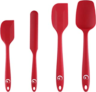 Silicone Spatula Set 500¡ãF Heat Resistant Non-Stick Flexible Rubber Red Spatulas - Baking Spatulas for Kitchen Cook Utensils Set for Cooking, Baking and Mixing, Cake Spatula - Red, 4 Pack
