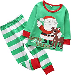 Weixinbuy Boys' Cotton Christmas Clothes 2 Pcs Pants Clothing Set
