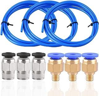 SIQUK 3 Pcs Teflon Tube PTFE Blue Tubing (1.5M) with 3 Pcs PC4-M6 Fittings and 3 Pcs PC4-M10 Fitting Connector for 3D Printer 1.75mm Filament