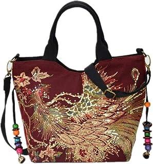 Women Shoulder Bag Handmade Embroidery Peacock Ethnic Style Retro Handbag Large Capacity Tote Messenger Bag for Girl