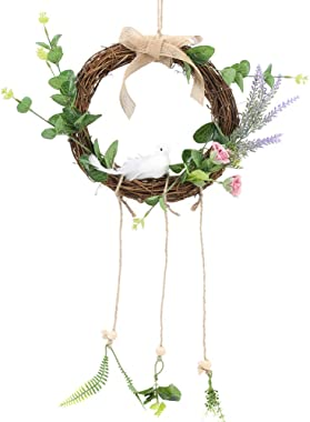HUAESIN Spring Door Wreath Artificial Rose Flower Wreath with Eucalyptus Leaves Fake Rattan Garland for Front Door Window Wal