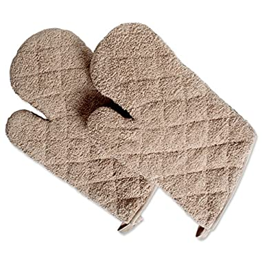 DII 100% Cotton, Terry Oven Mitts 7 x 13 , Heat Resistant, Machine Washable for Everyday Kitchen Basic, Set of 2, Ovenmitt, Stone, 2 Piece