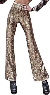 WSPLYSPJY Women's Sequin Trousers Casual Loose Skinny Glitter Legging Maxi Pants