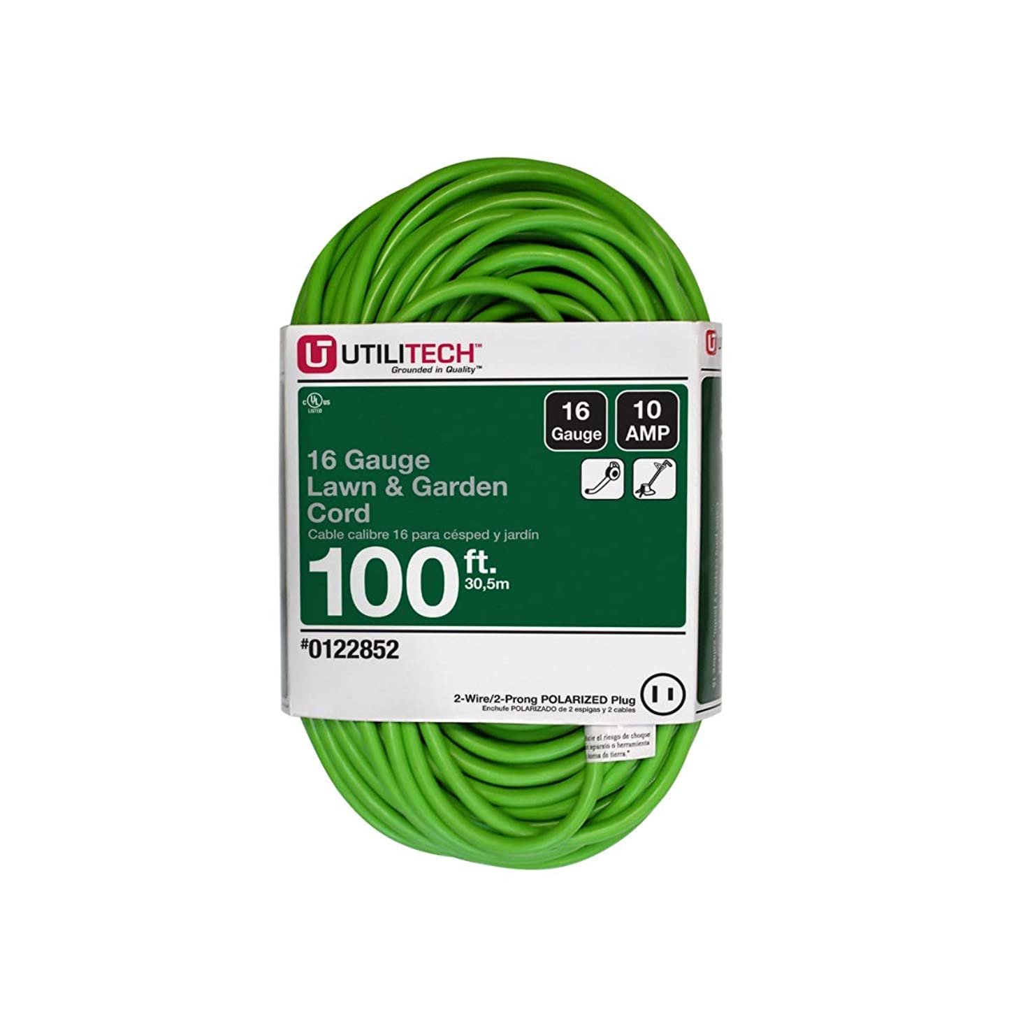 Utilitech 100-ft 10-Amp 125-Volt 1-Outlet 16-Gauge Lime Green Outdoor Extension Cord