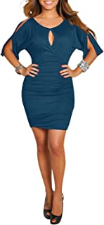 BIUBIU Women's Cold Shoulder Bodycon Bandage Party Midi Dress with Sleeve M-3XL