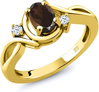 0.83 Ct Oval Brown Smoky Quartz White Topaz 18K Yellow Gold Plated Silver Ring