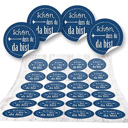 24 Aufkleber blau dunkelblau SCHÖN DASS DU DA BIST 4 cm Geschenkaufkleber Etiketten Sticker - Hochzeit Taufe Kommunion Geburtstag Gastgeschenk give-away Deko Fest Verpackung Mitgebsel