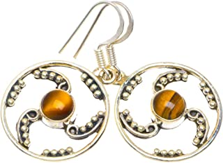 Natural Tiger Eye Unique Design 925 Sterling Silver Earrings 1.46