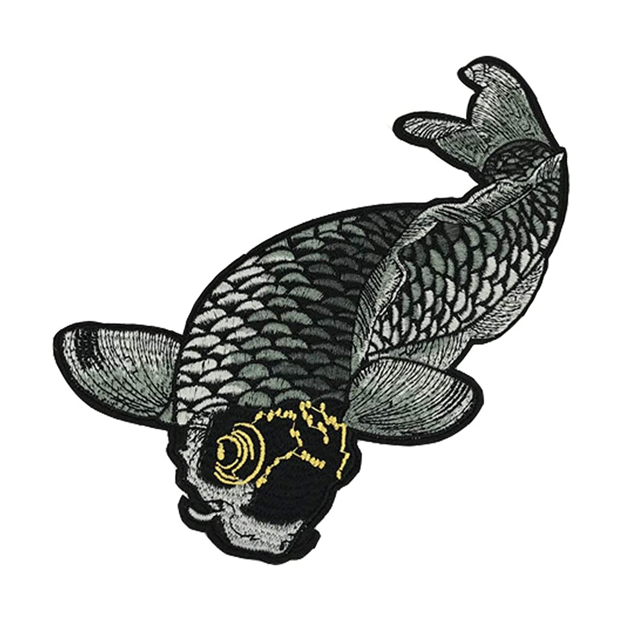 XUNHUI Black Carp Fish Embroidered Patches for Clothes Iron on Garment Applique DIY Accessory Animal Big Fish Patch 1 Piece