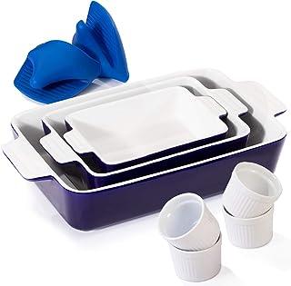 Ceramic Baking Dish, Casserole Dish for Cooking, Baking Dish Set for Kitchen, Gifts, Includes 3 Ceramic Rectangular Nonsti...