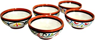Cactus Canyon Ceramics Very Small Spanish Terracotta 5-Piece Very Small Mini-Bowl (Pinch Bowls) Set, White
