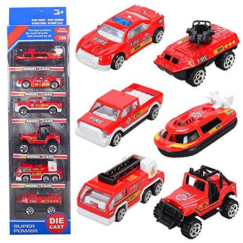 T.H. Mini Fahrzeuge Spielzeugautos Legierung Modelle Autos für Kinder ab 3 Jahren, 6er Set (Feuerwehrauto)