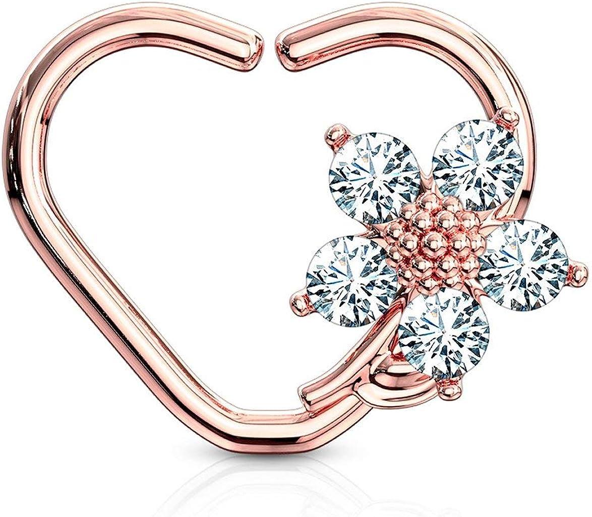 Forbidden Body Jewelry 16g Platinum & Gold Plated Heart w/CZ Flower Daith & Cartilage Hoop Earring