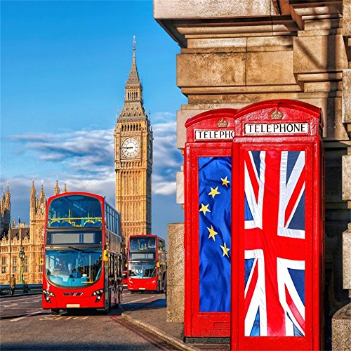 OFILA London Backdrop 5x5ft British Party Background Big Ben Photography Background Westminster Palace London Street Red Bus British Union Flags On Phone Booths Historical Building Travel Photos
