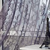 Lace Sheer Curtain Floral Embroidered Rod Pocket Drapes Window Voile Panels Sheer Voile Curtain Sheer Privacy Window Treatment Drapes for Living Room Bedroom 70.8' Long (Gray)