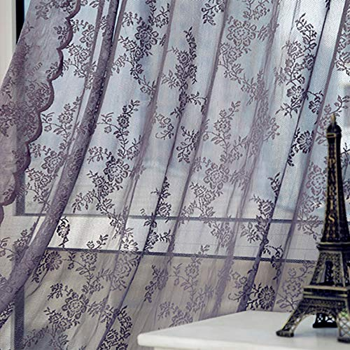 """Lace Sheer Curtain Floral Embroidered Rod Pocket Drapes Window Voile Panels Sheer Voile Curtain Sheer Privacy Window Treatment Drapes for Living Room Bedroom 70.8"""" Long (Gray)"""