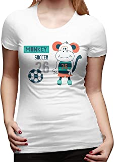 STDONE Women Customized Lovely Tee Shirt Cute Monkey Cartoon, Soccer with Monkey Short Sleeve Classic T Shirt Black