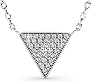 Silver & Post New! 18K White Gold Plated Triangle Pendant and Chain with Premium Austrian Crystals. Fancy Burlap Gift Box Included.