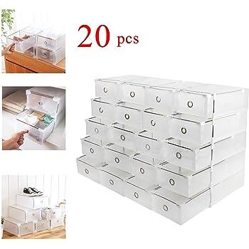 Homgrace 20 Cajas para Zapatos Transparente Plástico, Caja Guardar Zapatos, Calcetines, Juguetes, Cinturones para la organización de su hogar, Oficina: Amazon.es: Hogar