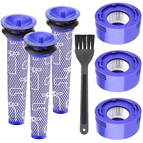 Funnytime Set di 6 Filtri di Ricambio Compatibili con Dyson V8 +, Aspirapolvere Absolute Animal Motorhead Serie V7 V8, 3 Pre-Filtri e 3 Post-Filtri HEPA, Sostituisce DY-965661-01, DY-967478-01