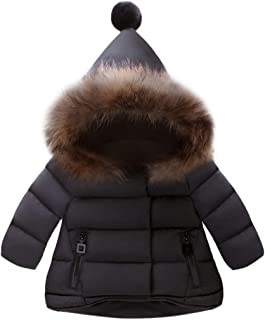 K-youth® Bebe Niño Ropa Bebe Niña Corta Abrigos con Capucha Piel Sintética Chaqueta para Niñas Invierno Plumas