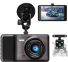 """ODLICNO Cámara de Coche 1080P Full HD,Dash CAM Dual (Trasera y Delantera)12MP 4"""" Pantalla con 170° Gran Ángulo, WDR, G-Sensor, Grabación en Bucle y Detección de Movimiento"""