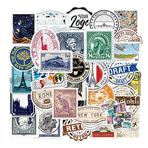 Vintage Travel Stamp Graffiti Stickers Children's Notebook Diary Stationery Stickers Waterproof Removable Laptop Stickers 50 Pcs