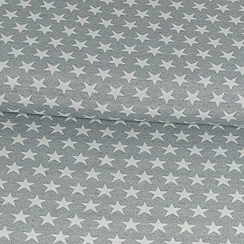 Gobelinstoff Sterne grau Canvasstoff Doubleface - Preis gilt für 0,5 Meter