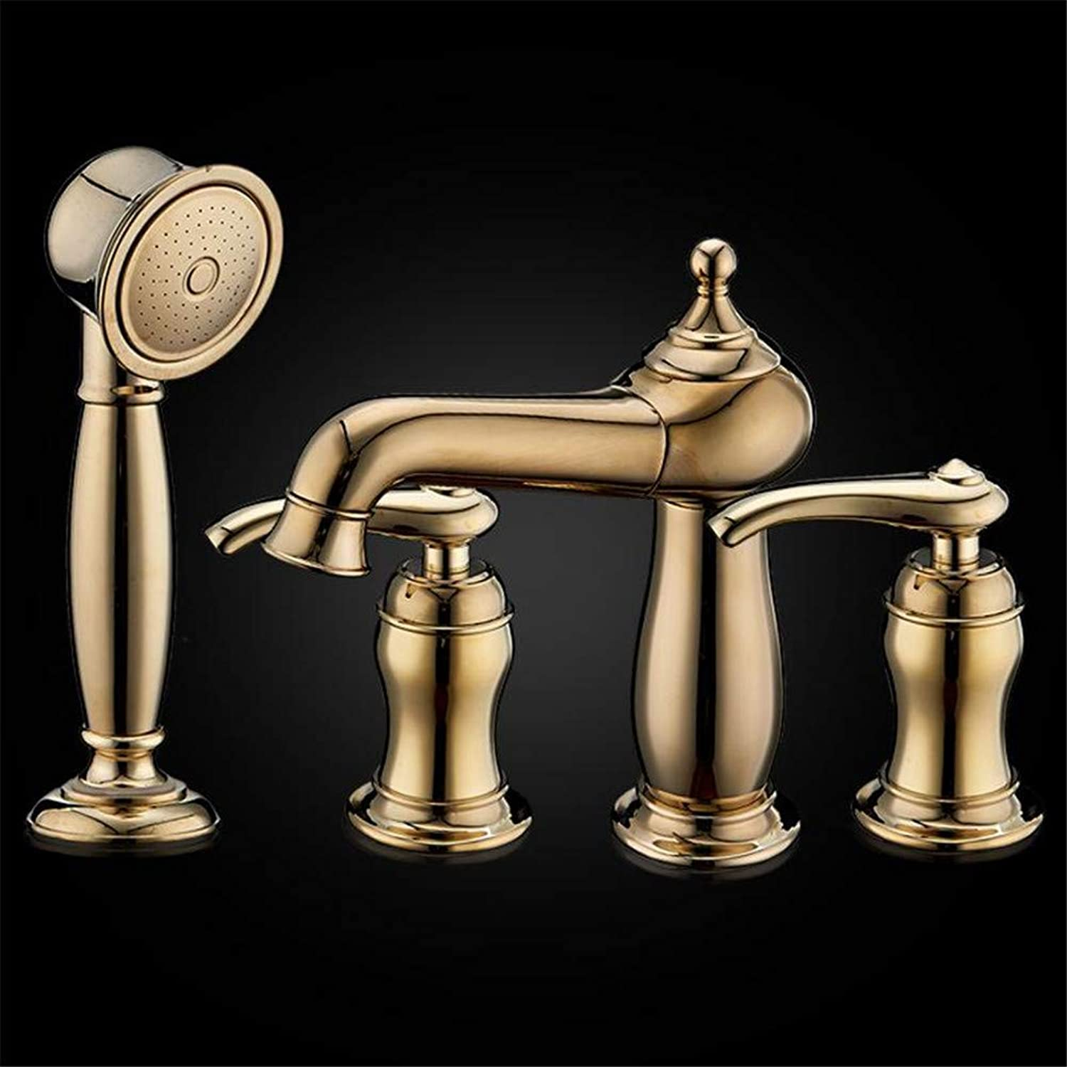 YAWEDA Eledtroplate gold Kitchen Faucets Brass Classic Four Holes Basin Faucet Pull Out 360 redata Sink Taps Hot Cold Deck Mounted,gold
