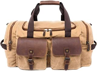 Duffel Bag | Canvas & Leather Collection by the Dapper Beardsman (Khaki)