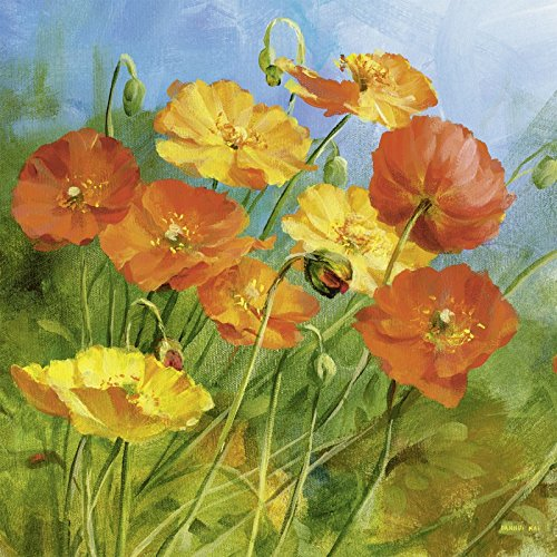 Artland Kunstdruck I Poster Danhui Nai Sommerfeld I Botanik Blumen Malerei Orange B2UJ