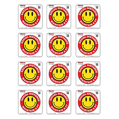 Social Distance Smile 6 FT - 909 (12 pack)- Full Color Printed - (size: 2' Round, color: Red/Black/Yellow) - Hard Hat, Helmet, Windows, Walls, Bumpers, Laptop, Lockers, etc.