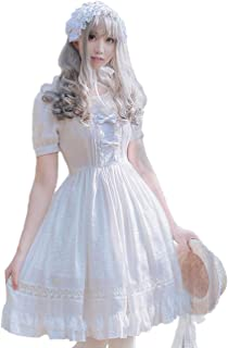 Girls White Sweet Lolita Dress Princess Court Skirts Cosplay Costumes