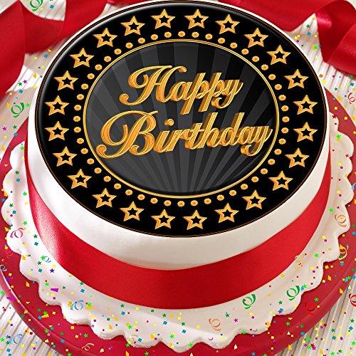 Cannellio Cakes 2022 Tortenaufleger zum Geburtstag, vorgeschnitten, essbare Dekoration, 19,1cm, Goldfarben & Schwarz