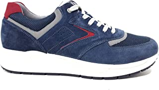 Imac 702200 Sneakers Estivi Scarpe Uomo Casual Vero Camoscio Mesh Blu Rosso