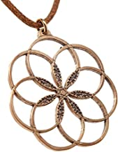 product image for 7 Rings of Peace Peace Bronze Pendant Necklace on Adjustable Natural Fiber Cord