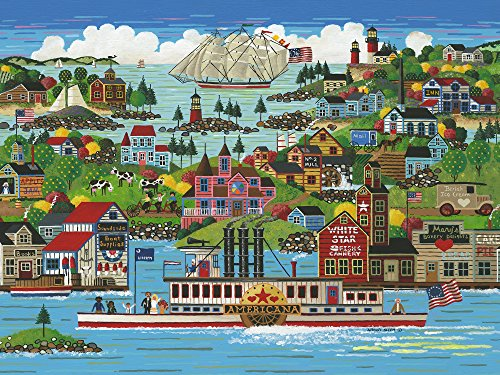 The Jigsaw Puzzle Factory Hometown Reflections The Americana, Vintage Puzzle Games for Adults and Kids Ages 12 and Up, Made in The USA, 750 Piece, Full Size is 18