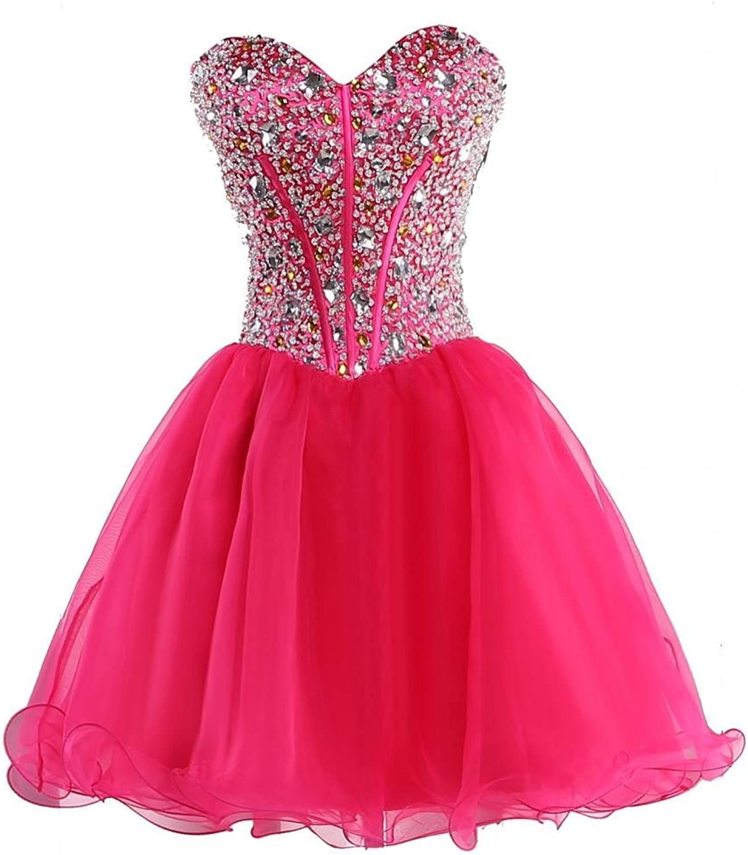 Wishopping Women's Short Rhinestone Organza Prom Gown Homecoming Dress WH17