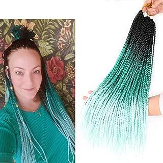 18inch 3packs Ombre Senegalese Twist Crochet Hair 28Roots/pack Crochet Braids Micro Twist Braids Hair Kanekalon Synthetic Braiding Hair Extensions (T1b/Green/Light Green)