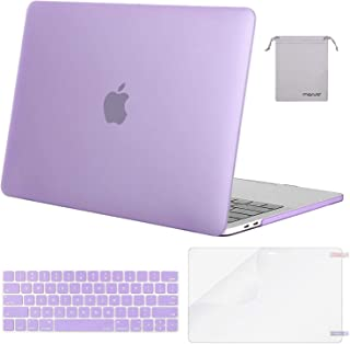 MOSISO MacBook Pro 13 inch Case 2019 2018 2017 2016 Release A2159 A1989 A1706 A1708, Plastic Hard Shell &Keyboard Cover &Screen Protector &Storage Bag Compatible with MacBook Pro 13, Light Purple