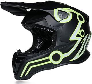Full Face MTB Helmet for Youth Men Women, Mens Black Off Road Helmet Kids Adult Motorcycle Crash Helmet for Dirt Bike MX Q...