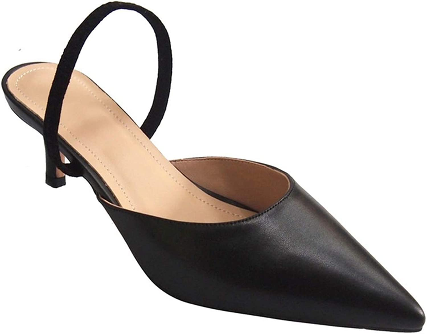 Girl21 Genuine Leather Sandals Women shoes Pointed Toe Slip On Soft Genuine High Heels shoes