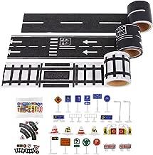 Shindel Road Car Tape, DIY Traffic Sign Model Train Track Sticker Roll for Car Toys Kids Gifts, 59PCS