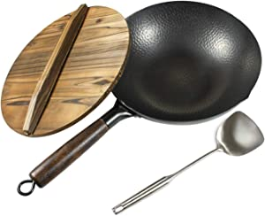 Letschef Hammered Carbon Steel Wok With Wooden Handle With Lid, Spatula, Pre-seasoning Wok Instruction Included (12.5 Inch, Flat Bottom Wok)