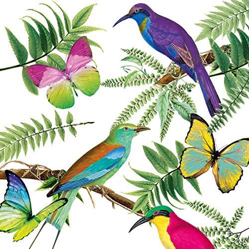 Nouveau Tropical Birds Tovaglioli di Carta, Multicolore, 33 x 33
